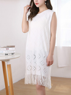 White Shift Knee Length Dress for Casual Party