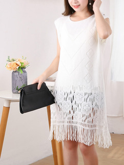 White Shift Knee Length Lace Dress for Casual Party