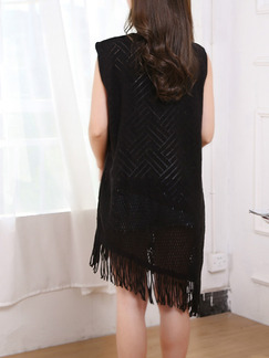 Black Shift Knee Length Lace Dress for Casual Party