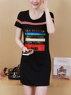 Black Colorful Sheath Above Knee Plus Size Dress for Casual Party