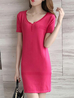 Red Sheath Above Knee Plus Size Dress for Casual Party Evening