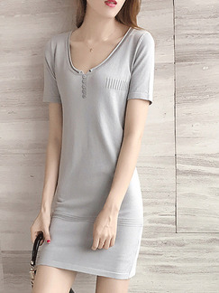Grey Sheath Above Knee Plus Size Dress for Casual Party Evening