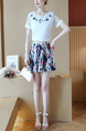 Blue and White Colorful Two Piece Fit & Flare Above Knee Plus Size Lace Dress for Casual Party
