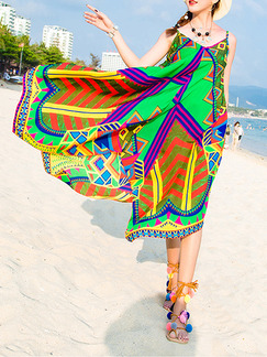 Colorful Maxi Slip V Neck Plus Size Dress for Casual Beach