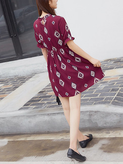 Red Fit & Flare Above Knee Plus Size Dress for Casual Party Evening