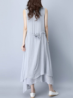 Grey Shift Maxi Plus Size Dress for Casual