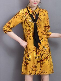 Yellow Printed Band Belt Shirt Plus Size Cute Shift Dress for Casual Office Evening