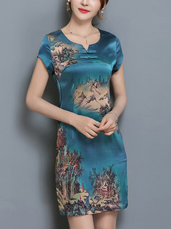 Blue Green Colorful Sheath Above Knee Plus Size Dress for Casual Party Evening