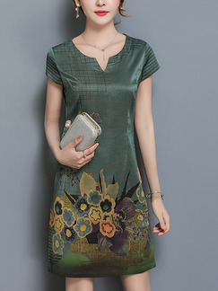 Green Colorful Sheath Above Knee Plus Size Floral Dress for Casual Party Evening