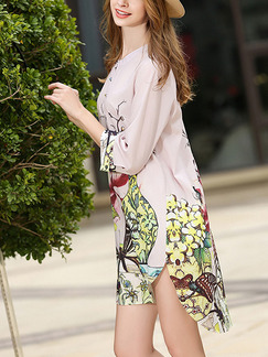 Pink Colorful Shift Above Knee Floral Cute Dress for Casual Party Evening