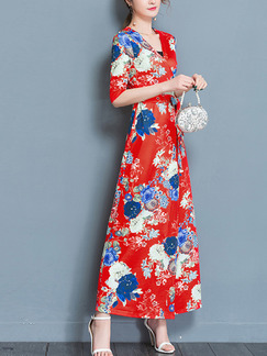 Red Colorful Shift Maxi Plus Size V Neck Wrap Floral Dress for Casual Beach