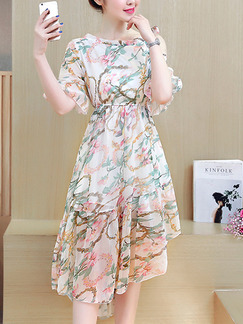 Beige Colorful Fit & Flare Above Knee Plus Size Dress for Casual Party Evening