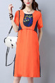 Orange and Blue Shift Above Knee Plus Size Dress for Casual Party