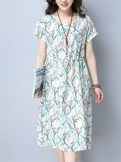 White and Green Colorful Shift Knee Length Plus Size Dress for Casual Party
