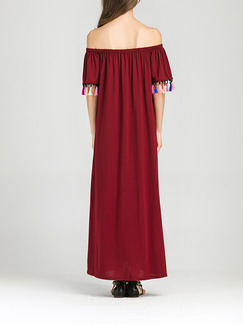 Red Shift Maxi Off Shoulder Plus Size Dress for Casual