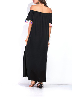 Black Shift Maxi Off Shoulder Plus Size Dress for Casual