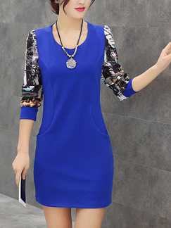 Blue and Black Bodycon Above Knee Plus Size Dress for Casual Office Evening Party