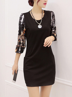 Black Bodycon Above Knee Plus Size Dress for Casual Office Evening Party