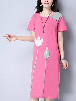Pink Shift Midi Plus Size Cute Dress for Casual Party