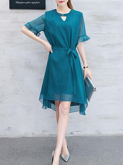 Blue Green Fit & Flare Knee Length Plus Size Dress for Casual Party Evening Office