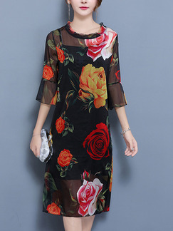 Black Colorful Shift Midi Plus Size Floral Dress for Casual Party Evening Office