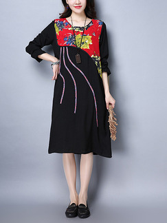 Black Colorful Shift Midi Plus Size Dress for Casual Party