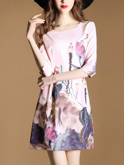 Pink Colorful Sheath Above Knee Plus Size Floral Dress for Casual Office Evening Party