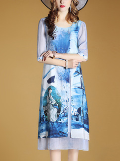 Blue Shift Midi Plus Size Dress for Casual Party Evening Office