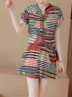 Colorful Stripe Above Knee Plus Size Dress for Casual Office Evening