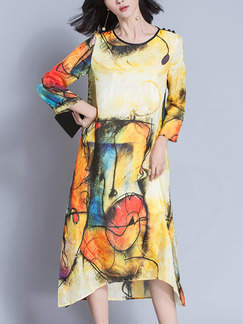 Yellow Colorful Shift Midi Plus Size Dress for Casual Party Evening Office