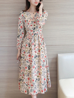 Beige Colorful Fit & Flare Midi Plus Size V Neck Long Sleeve Floral Dress for Casual Party Evening Office
