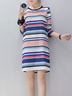 Colorful Stripe Shift Above Knee Plus Size Dress for Casual Party