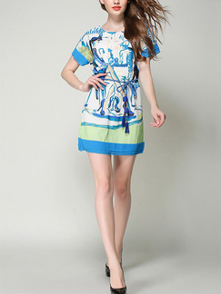 Blue White and Green Shift Above Knee Plus Size Dress for Casual Party Evening