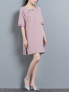 Pink Shift Above Knee Plus Size Cute Dress for Casual Office Evening Party