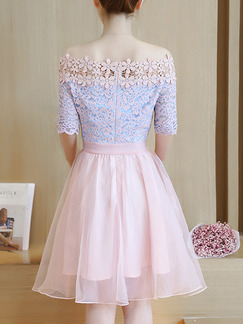 Blue and Pink Fit & Flare Above Knee Plus Size Off Shoulder Lace Cute Dress for Casual Party Evening Nightclub