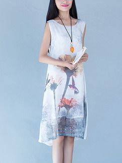Blue and White Colorful Shift Midi Plus Size Floral Dress for Casual Party Beach