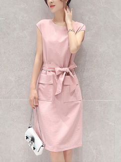 Pink Sheath Knee Length Plus Size Cute Dress for Casual Office Evening