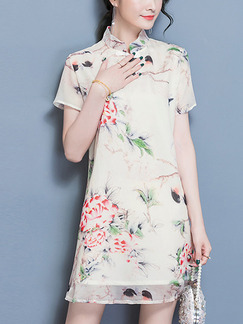 Cream Colorful Shift Above Knee Plus Size Floral Shirt Dress for Casual Party Evening Office