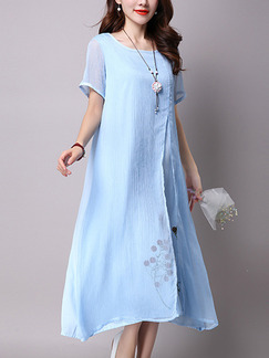 Blue Shift Midi Plus Size Cute Dress for Casual Party