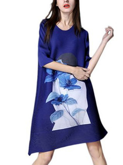 Blue Shift Above Knee Plus Size Floral Dress for Casual Party Evening