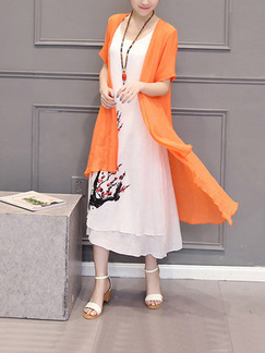 Orange and White Shift Midi Plus Size Dress for Casual Party Beach