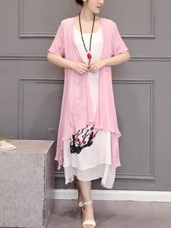 Pink and White Shift Midi Plus Size Dress for Casual Party Beach
