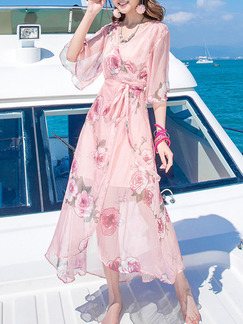 Pink Two Piece Midi Plus Size Floral V Neck Wrap Dress for Casual Beach