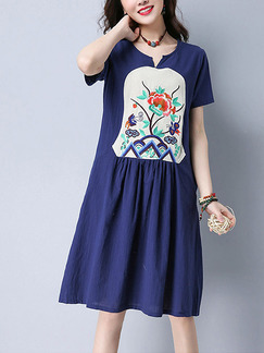 Blue Shift Knee Length Plus Size Dress for Casual Party