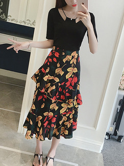Black Yellow and Red Two Piece Midi Dress for Casual Office Evening Party