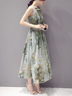 Grey and Green Fit & Flare Midi Plus Size Floral Dress for Casual Party