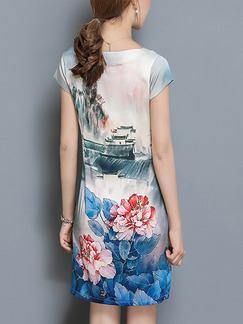 Blue Colorful Sheath Above Knee Plus Size Floral Dress for Casual Party Evening