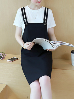 Black and White Shift Knee Length Dress for Casual Office