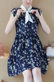 Blue Fit & Flare Above Knee Plus Size Floral Dress for Casual Party Evening