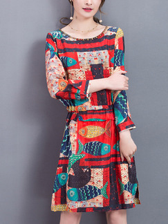 Red Colorful Fit & Flare Above Knee Plus Size Long Sleeve Dress for Casual Party Evening